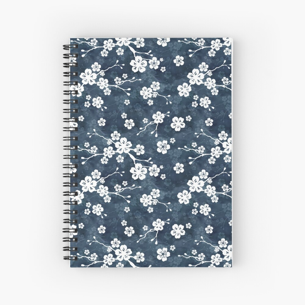 Navy and white cherry blossom pattern Spiral Notebook