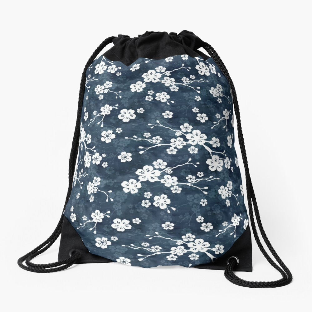 Navy and white cherry blossom pattern Drawstring Bag