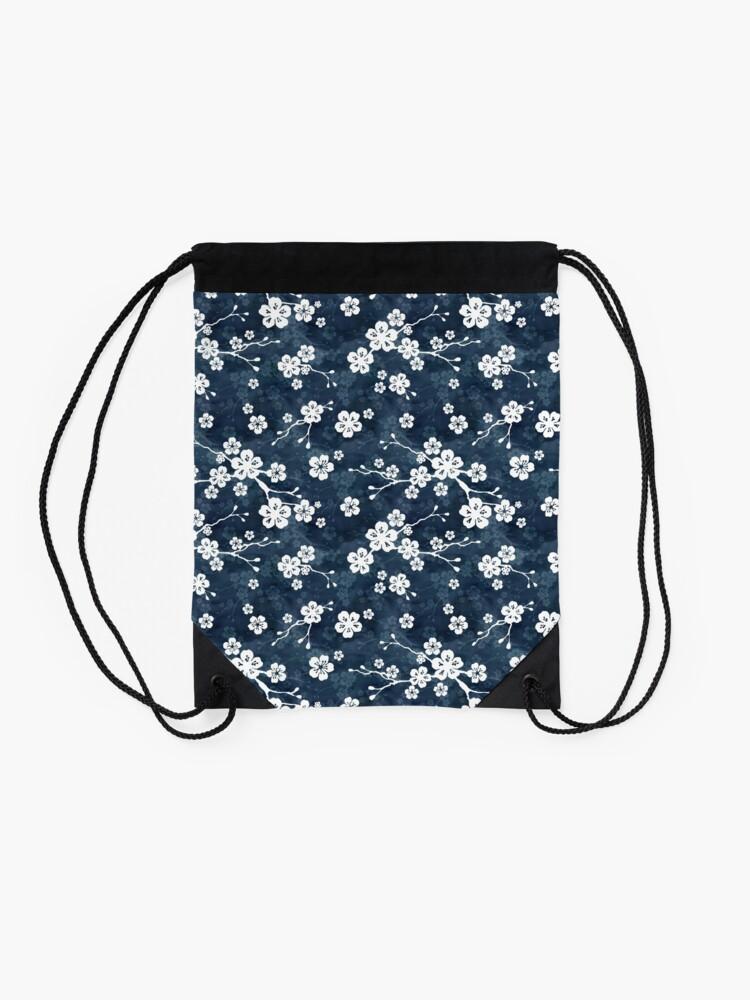 Alternate view of Navy and white cherry blossom pattern Drawstring Bag