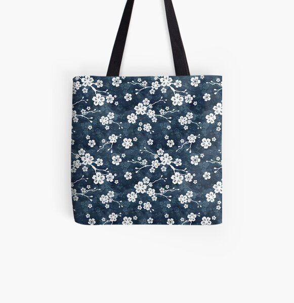 Navy and white cherry blossom pattern All Over Print Tote Bag