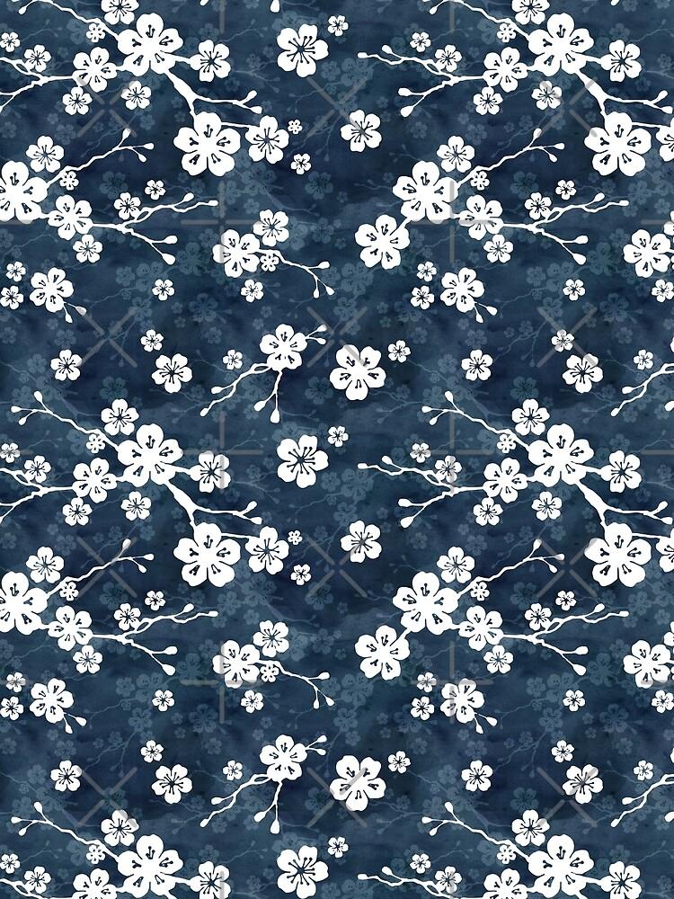 Navy and white cherry blossom pattern by adenaJ