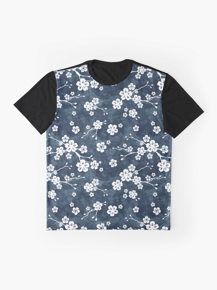 Alternate view of Navy and white cherry blossom pattern Graphic T-Shirt