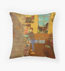On the stairs Throw Pillow