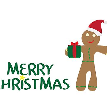 Merry Christmas logo with Yellow star, gingerbread man cookie wearing santa hat,  holding gift on white background by sigdesign