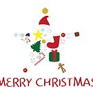 Star shape with Christmas elements and Merry Christmas greeting by sigdesign