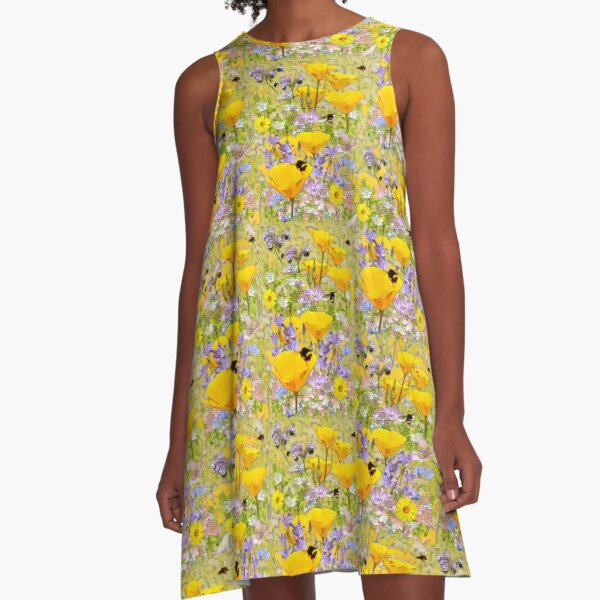 Busy Bees and California Poppies A-Line Dress
