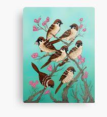 Sakura Sparrows Metal Print