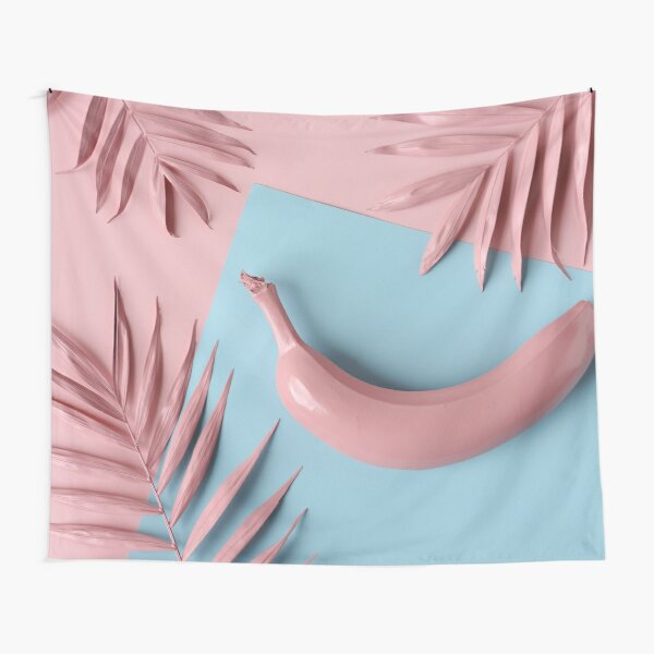 Pink banana with palm leaves Tapestry