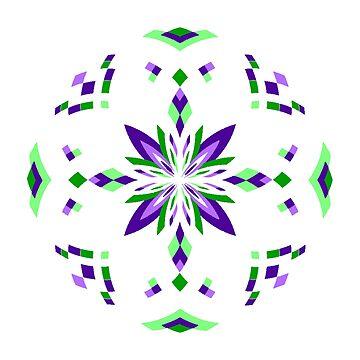 Mandala 17 - Green & Purple by Cybarxz