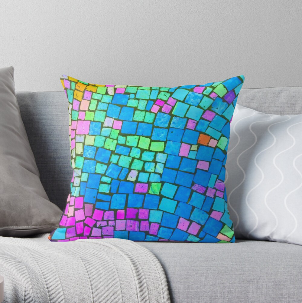 Mixed Up Rainbow Colorful Abstract Mosaic Throw Pillow