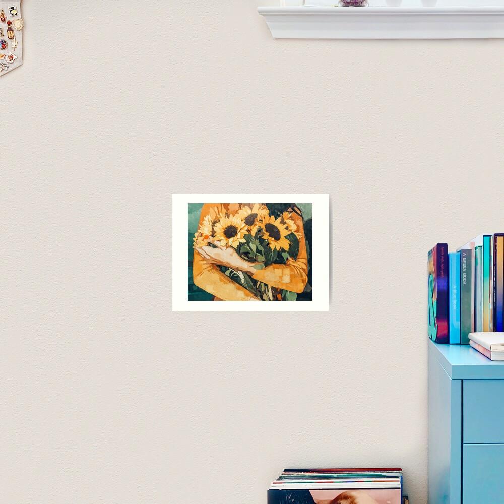 Holding Sunflowers Art Print