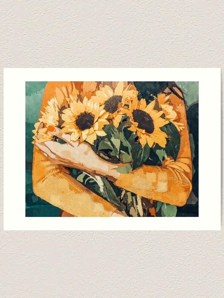 Alternate view of Holding Sunflowers Art Print