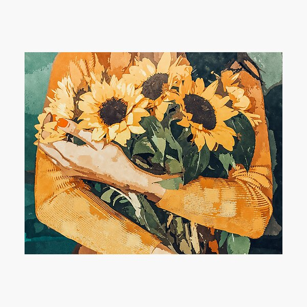 Holding Sunflowers Photographic Print