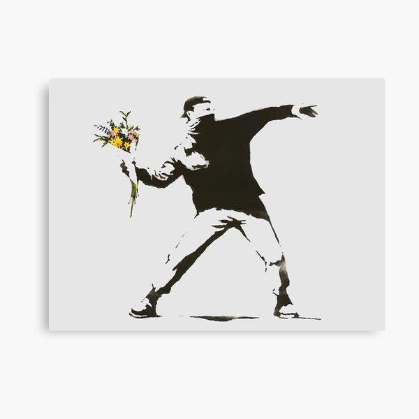 Banksy - Man Throwing Flowers - Antifa vs Police Manifestation Design pour homme, femme, affiche Impression sur toile