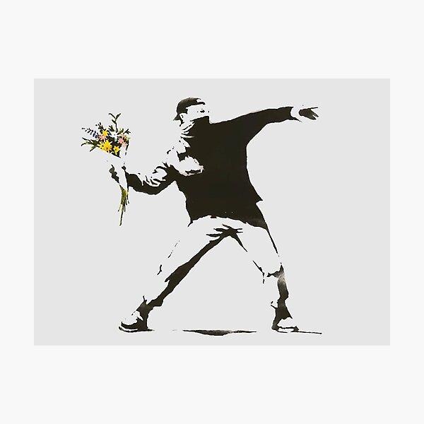 Banksy - Man Throwing Flowers - Antifa vs Police Manifestation Design For Men, Women, Poster Photographic Print