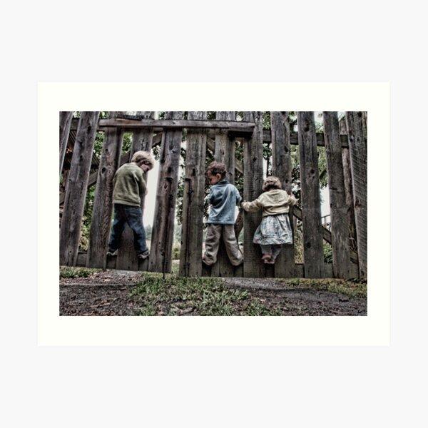 Three Kids on a Fence Art Print