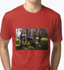 Firing the Cannon at Camp Ford. Tri-blend T-Shirt