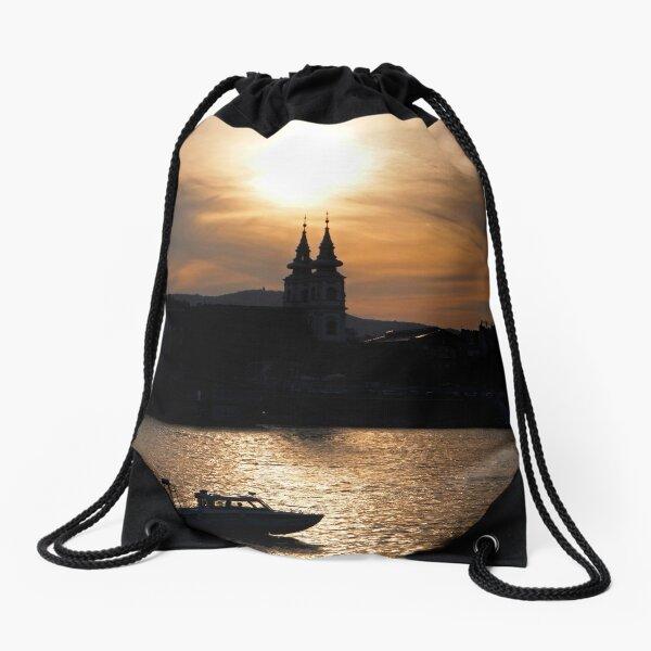 Danube at sunset Drawstring Bag