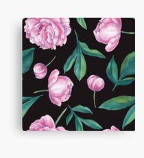 Seamless watercolor peony pattern   Canvas Print