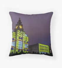 Liver Building Yellow Submarine Projection Throw Pillow