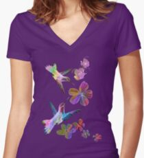 Birds. Women's Fitted V-Neck T-Shirt