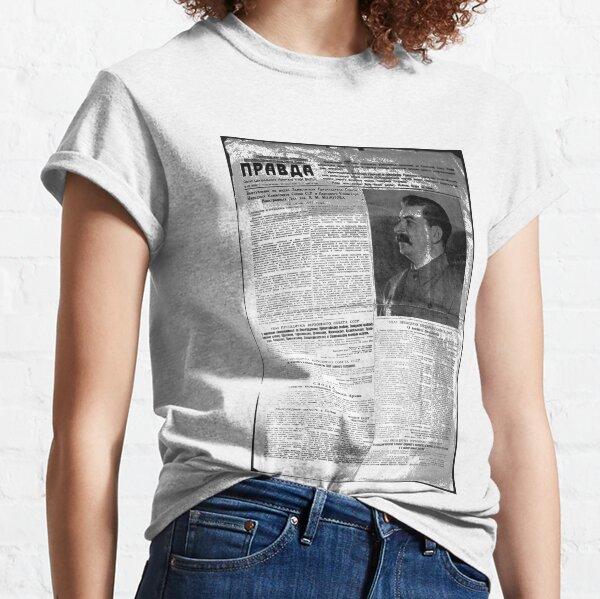 The front page of Pravda on 23 June 1941, including, a printed, radio speech, by Molotov, Pravda, Правда, pravdə, Truth - Russian Broadsheet Newspaper Classic T-Shirt