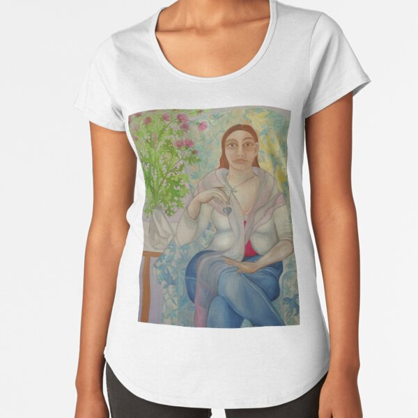 Portrait with thistle and canary birds Premium Scoop T-Shirt