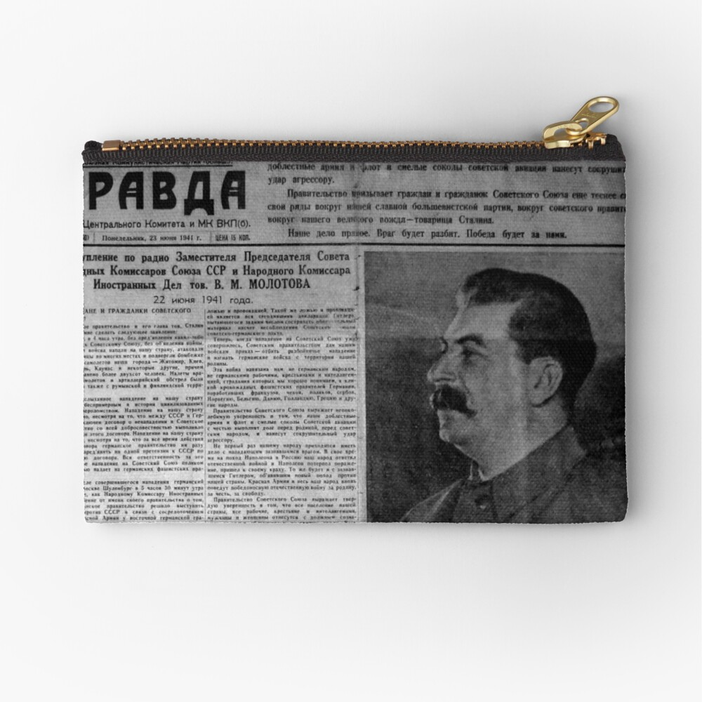 The front page of Pravda on 23 June 1941, including a printed radio speech by Molotov Zipper Pouch