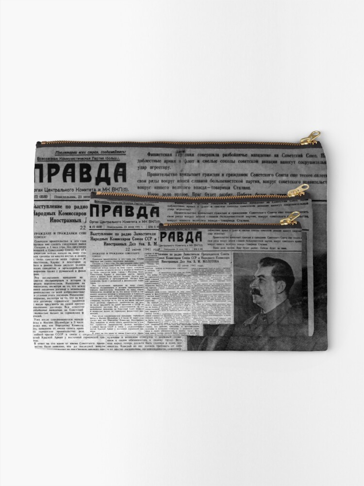 Alternate view of The front page of Pravda on 23 June 1941, including a printed radio speech by Molotov Zipper Pouch