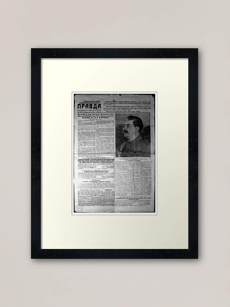 The front page of Pravda on 23 June 1941, including a printed radio speech by Molotov: Framed Art Print