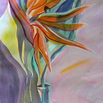 Orange bird of paradise watercolor by Naquaiya