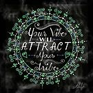 'Your Vibe Will Attract Your Tribe' Quote Mandala Marble Black by Alifya Designs