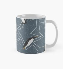 Happy Penguins and Snow on a Blue background Mug