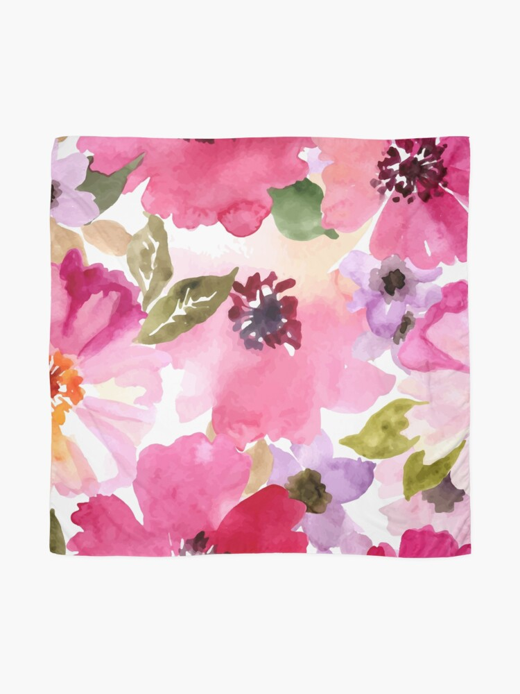 Alternate view of Watercolor Flowers Pink Scarf
