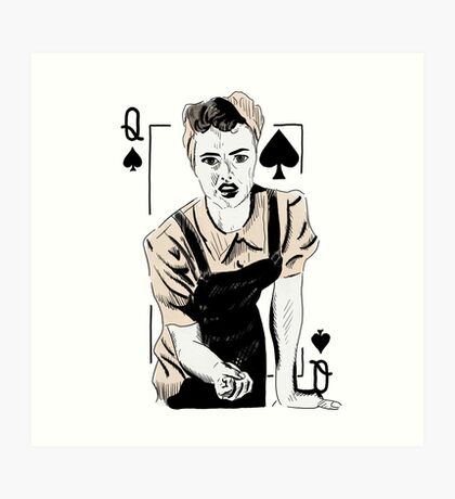 Wartime Land Girl Queen of Spades Art Print