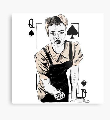 Wartime Land Girl Queen of Spades Metal Print