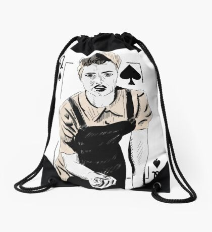 Wartime Land Girl Queen of Spades Drawstring Bag