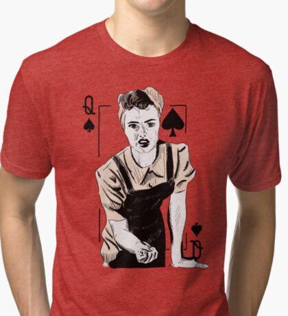 Wartime Land Girl Queen of Spades Tri-blend T-Shirt