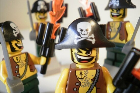 Pirate Captain Minifigure with Flame Torch by Customize My Minifig