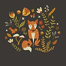Foxes in an Autumn Garden by latheandquill