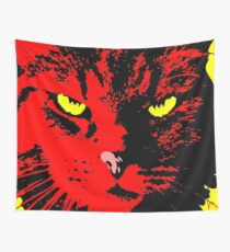 ANGRY CAT POP ART - RED YELLOW BLACK Wall Tapestry
