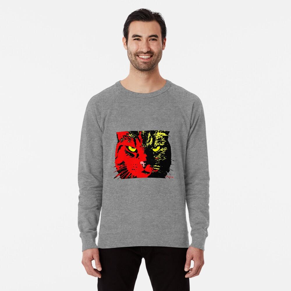 ANGRY CAT POP ART - RED BLACK YELLOW TRASPARENT Lightweight Sweatshirt Front