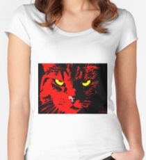 ANGRY CAT POP ART - RED YELLOW BLACK Women's Fitted Scoop T-Shirt
