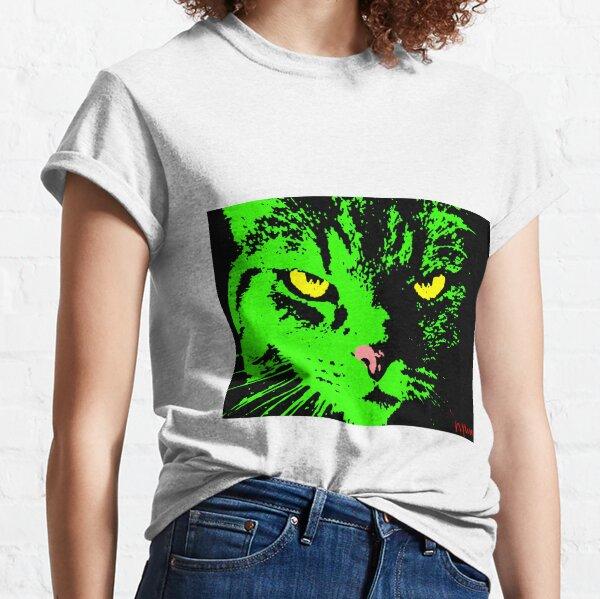 ANGRY CAT POP ART - SCHWARZES WEISSES GELB TRASPARENT Classic T-Shirt