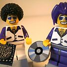 DJ Clubbing Tru and his Dad Disco Stu (with CD and Record) Minifigs, by 'Customize My Minifig' by Customize My Minifig