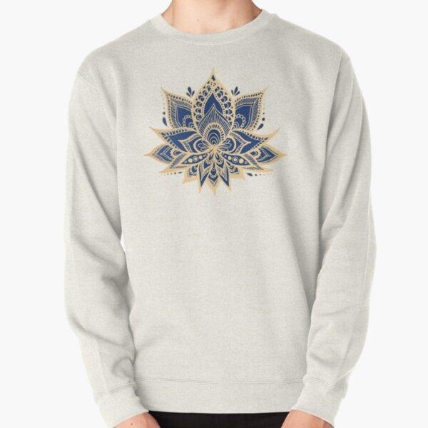 Gold and Blue Lotus Flower Mandala Pullover Sweatshirt