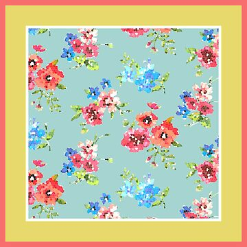 Multicolor Watercolor Floral Print in Yellow, Dusty Blue and Coral by IcArtsyOrigin8