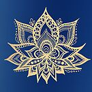 Gold and Blue Lotus Flower Mandala by julieerindesign