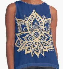 Gold and Blue Lotus Flower Mandala Contrast Tank
