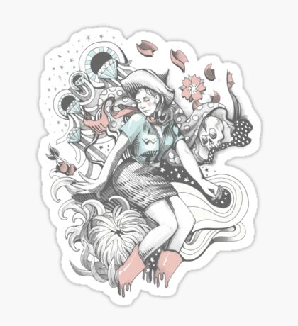 Cowgirl Drawing - Tattoo Style Sticker
